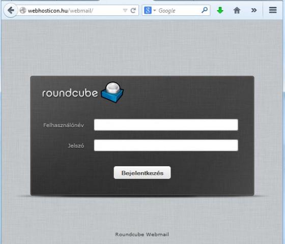 Roundcube webmail bejelentkezés