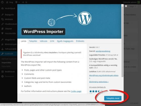 WordPress importer telepítése
