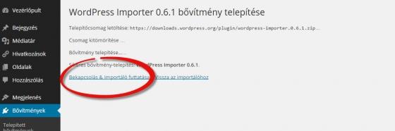 WordPress importer aktiválás